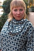 Tubsjal ull mörkblå/vit
