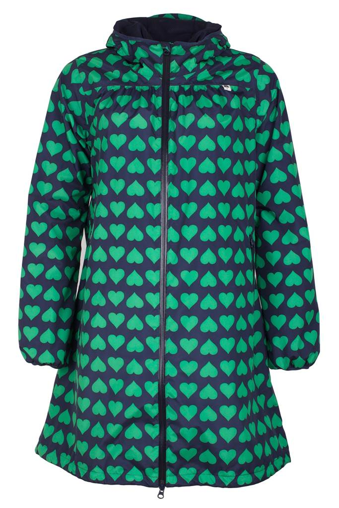 Helen rainjacket navy/green heart