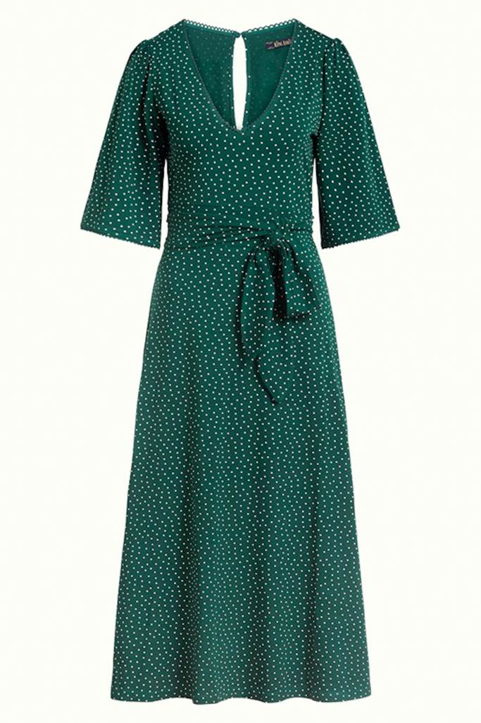 Zita klänning little dots pine green
