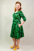 Stina 3/4-ärm klänning Dahlia leaf green