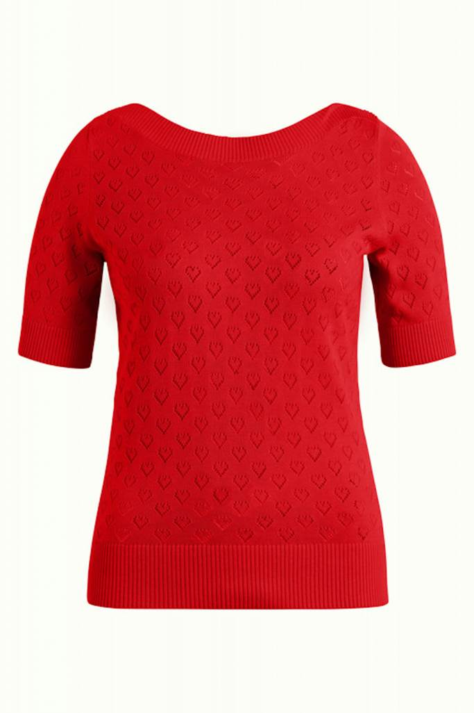 Audrey topp heart ajour Red