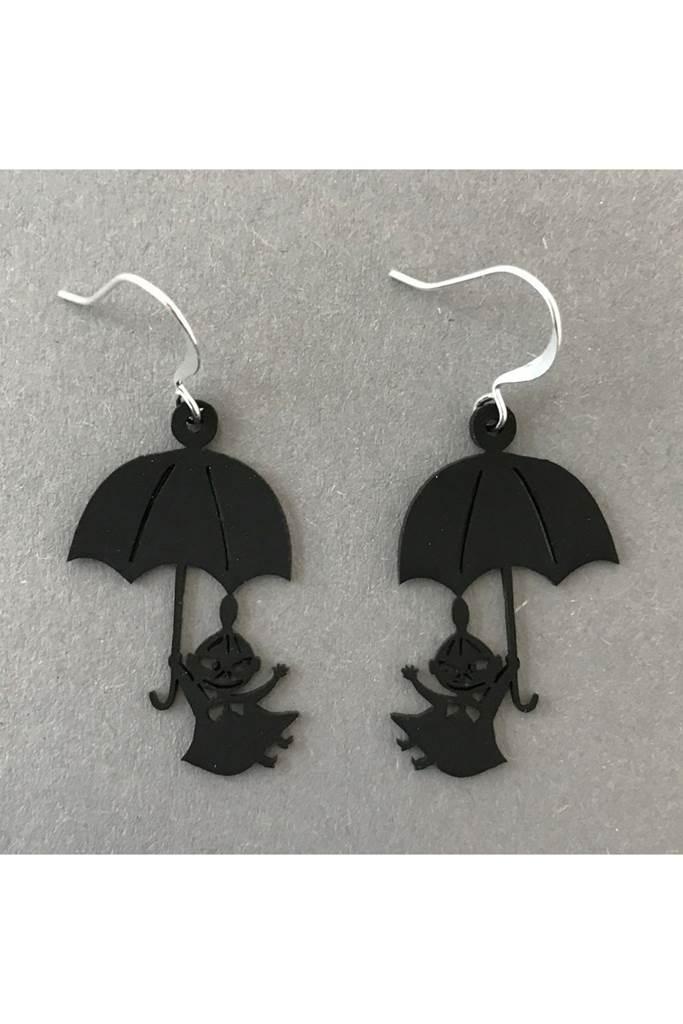 Lilla My och paraply örhängen Svart