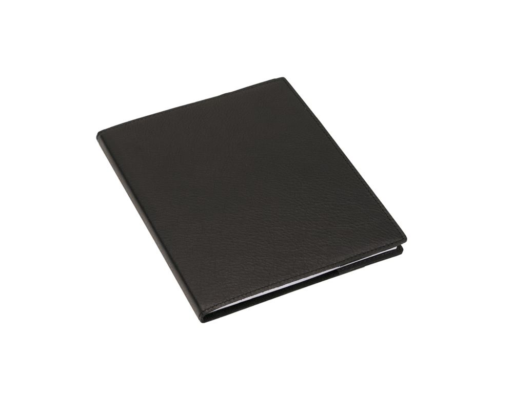 N. book 170x200 leather cover Black with refill lined