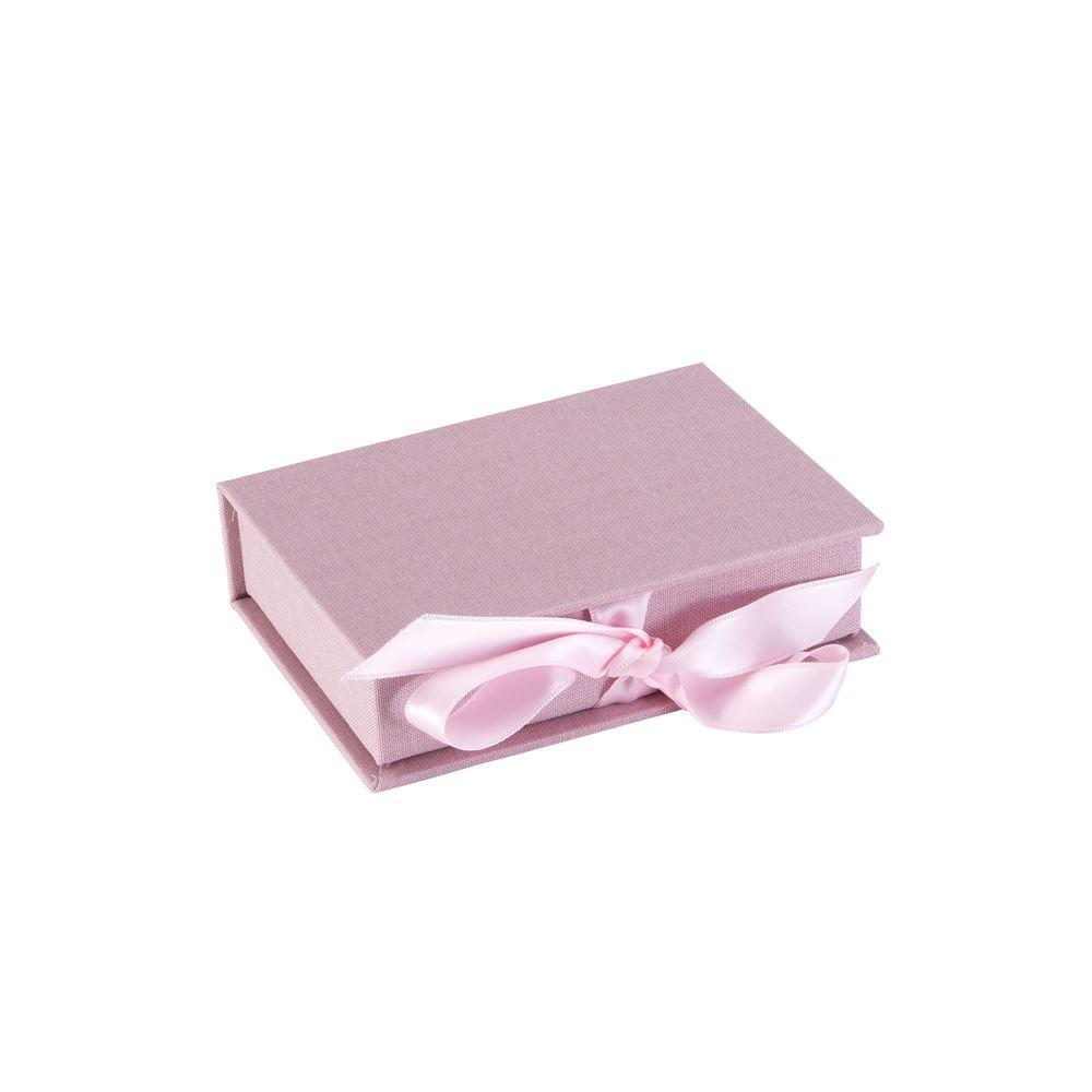 Vävklädd Box med Sidenband, Puderrosa