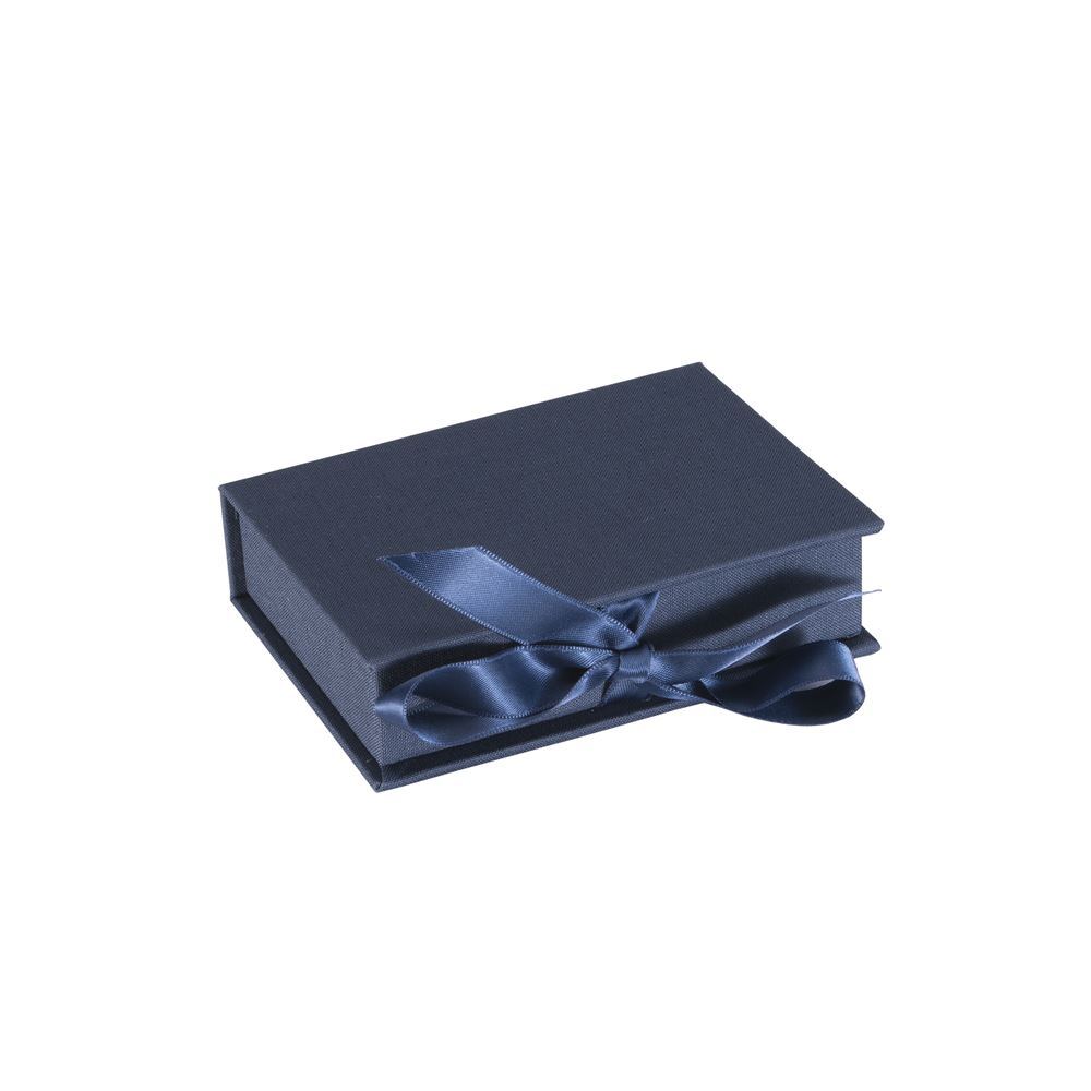 Vävklädd Box med sidenband, midnattsblå