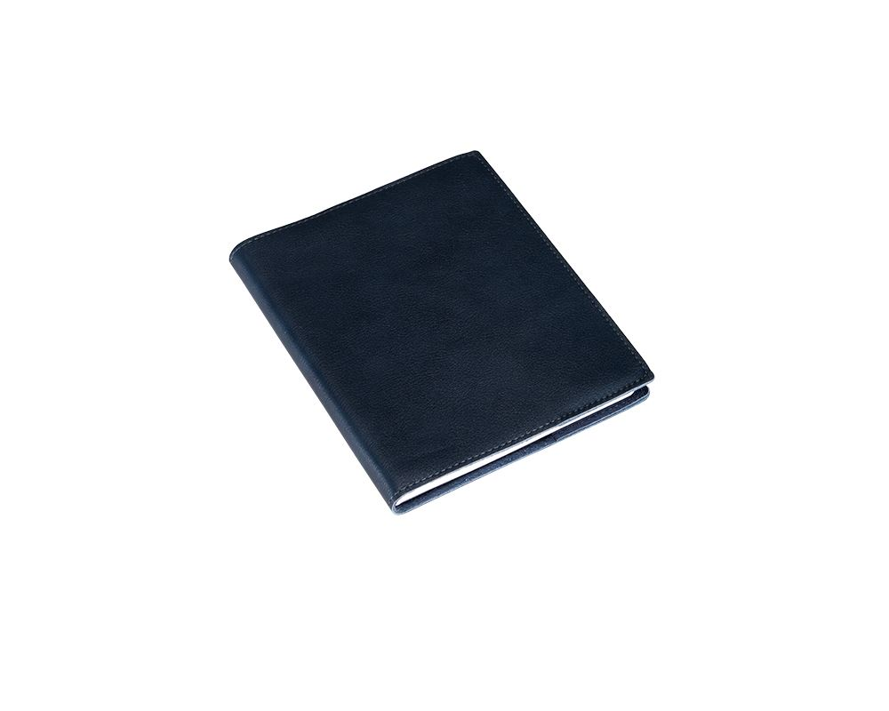 Notebook, unlined leather cover A6+ Navy