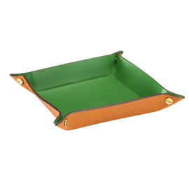 Tray leather, Cognac/Green