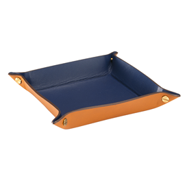 Tray leather Cognac/Blue