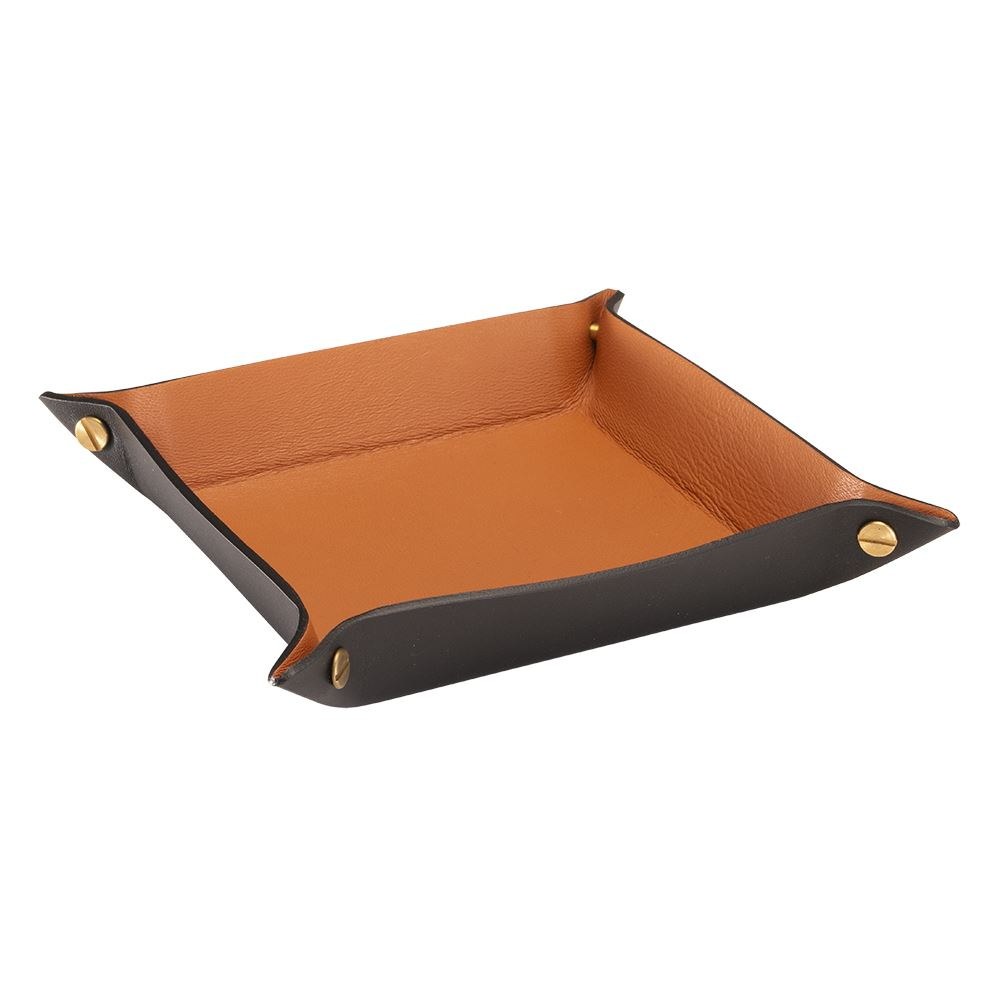 Tray leather, Black/Cognac