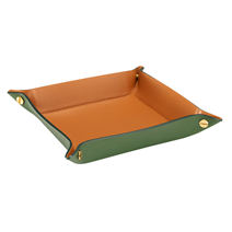 Tray leather, Dark Green/Cognac