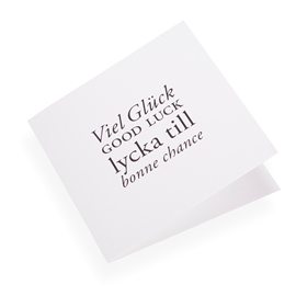 "Carte double, papier coton, ""Viel gluck, Good luck..."" noir"