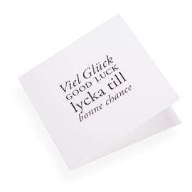 "Carte double, papier coton, ""Viel gluck, Good luck..."" noir"