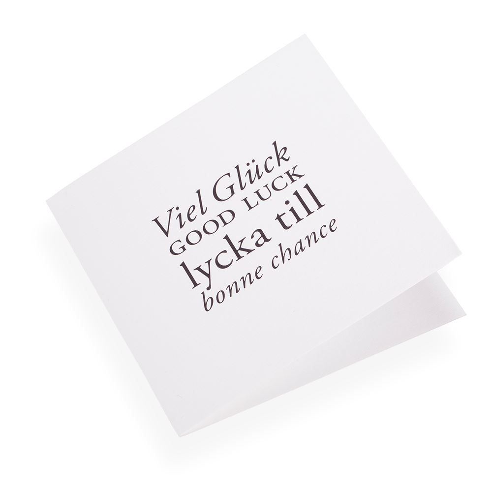 Cotton paper card, Viel gluck Good Luck...in Black