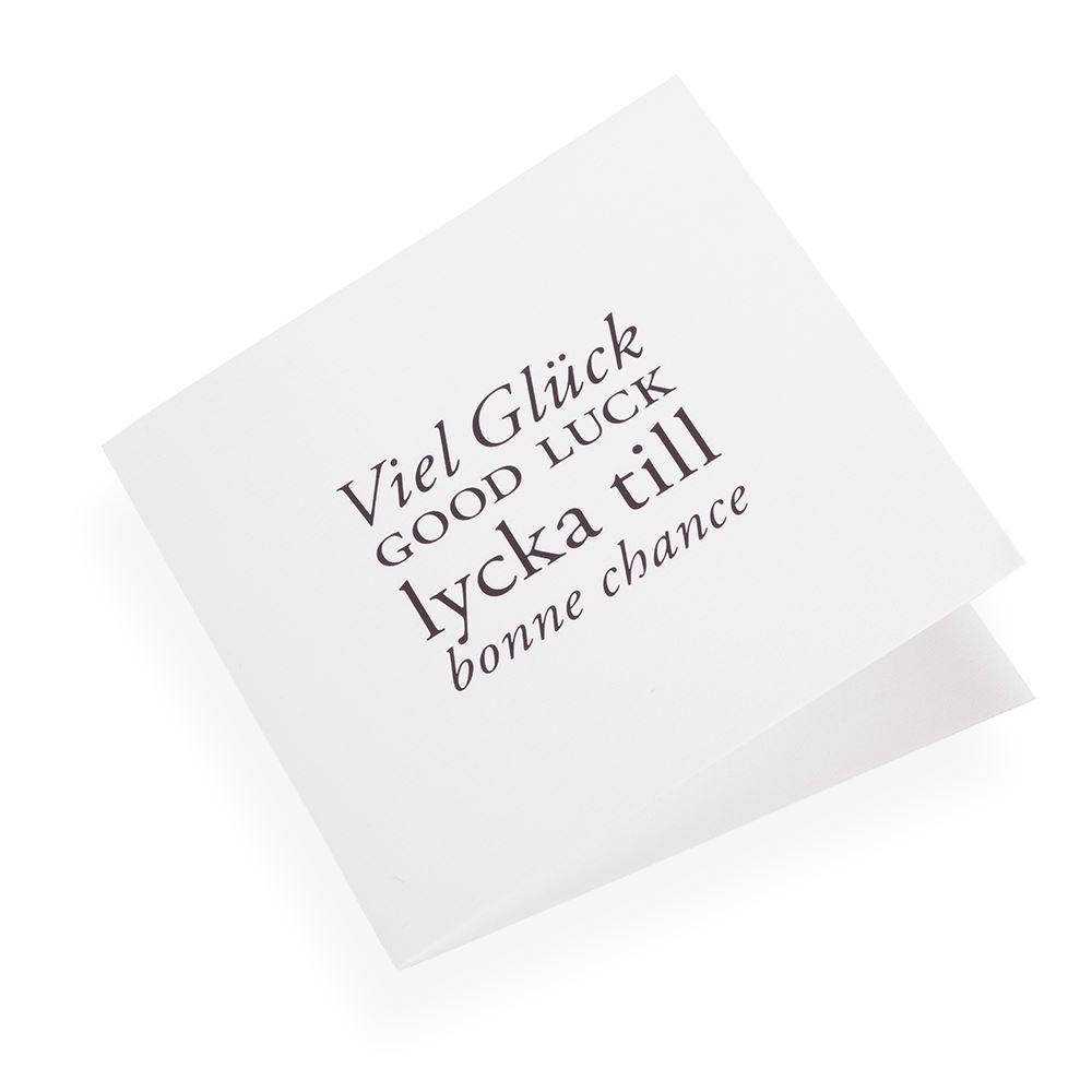 Cotton paper card, Viel gluck Good Luck...in Black