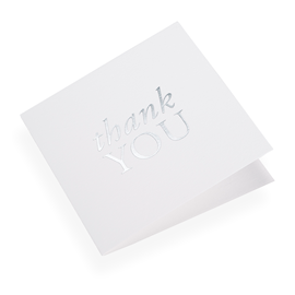 "Carte double, papier coton, ""Thank you"" argenté"