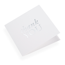 Cotton paper card, Thank You in Silver