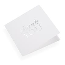 Faltkarte aus Baumwollpapier, Thank You in Silver