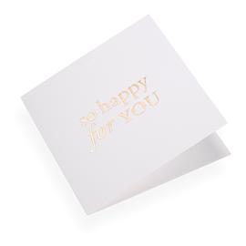 "Carte double, papier coton, ""So happy for you"", doré"