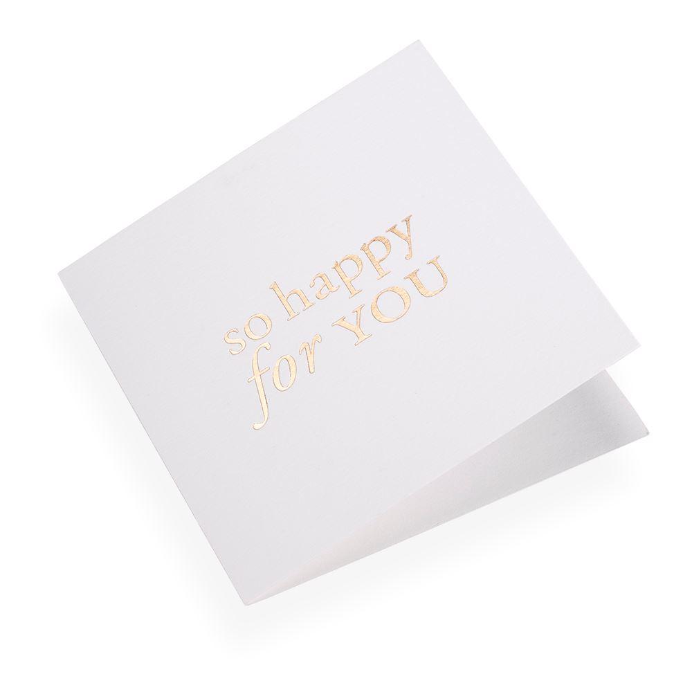 Faltkarte aus Baumwollpapier, So happy for you in Gold