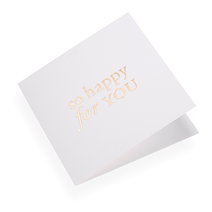 Cotton paper card, So happy for you in Gold