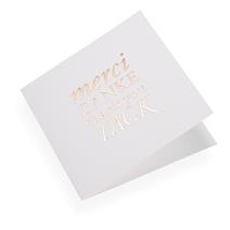 """Carte double, papier coton, """"Merci, Danke..."""" doré"""