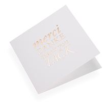 Cotton paper card, Merci Danke...in Gold