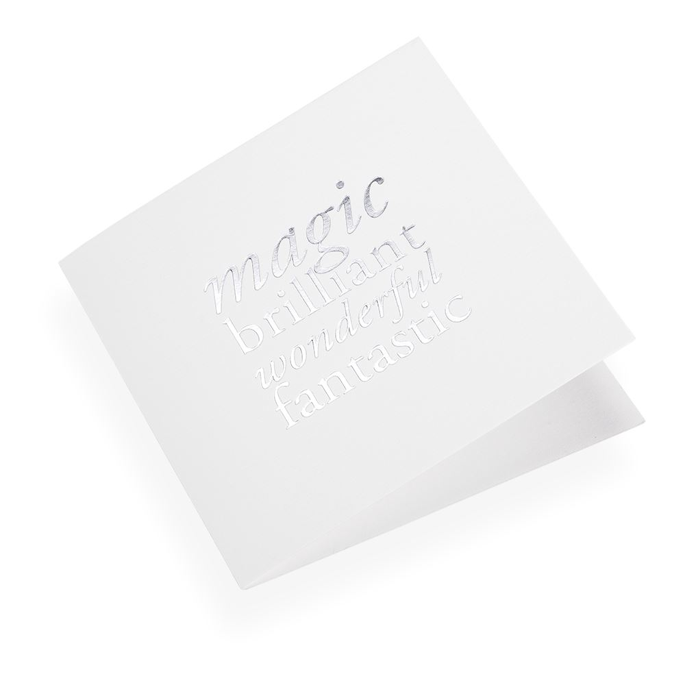 """Carte double, papier coton, """"Magic, Brilliant.."""" argenté"""