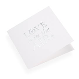 "Carte double, papier coton, ""Love is in the air"" argenté"