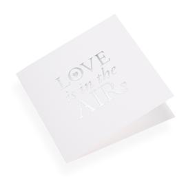 """Carte double, papier coton, """"Love is in the air"""" argenté"""
