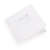 Faltkarte aus Baumwollpapier, Love is in the air in Silver