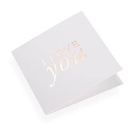 Cotton paper card, i Love You in Gold