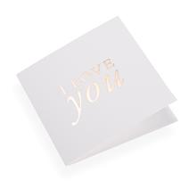 """Carte double, papier coton, """"I Love You"""" doré"""