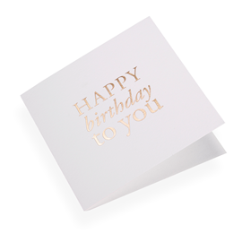 "Carte double, papier coton, ""Happy Birthday"" doré"