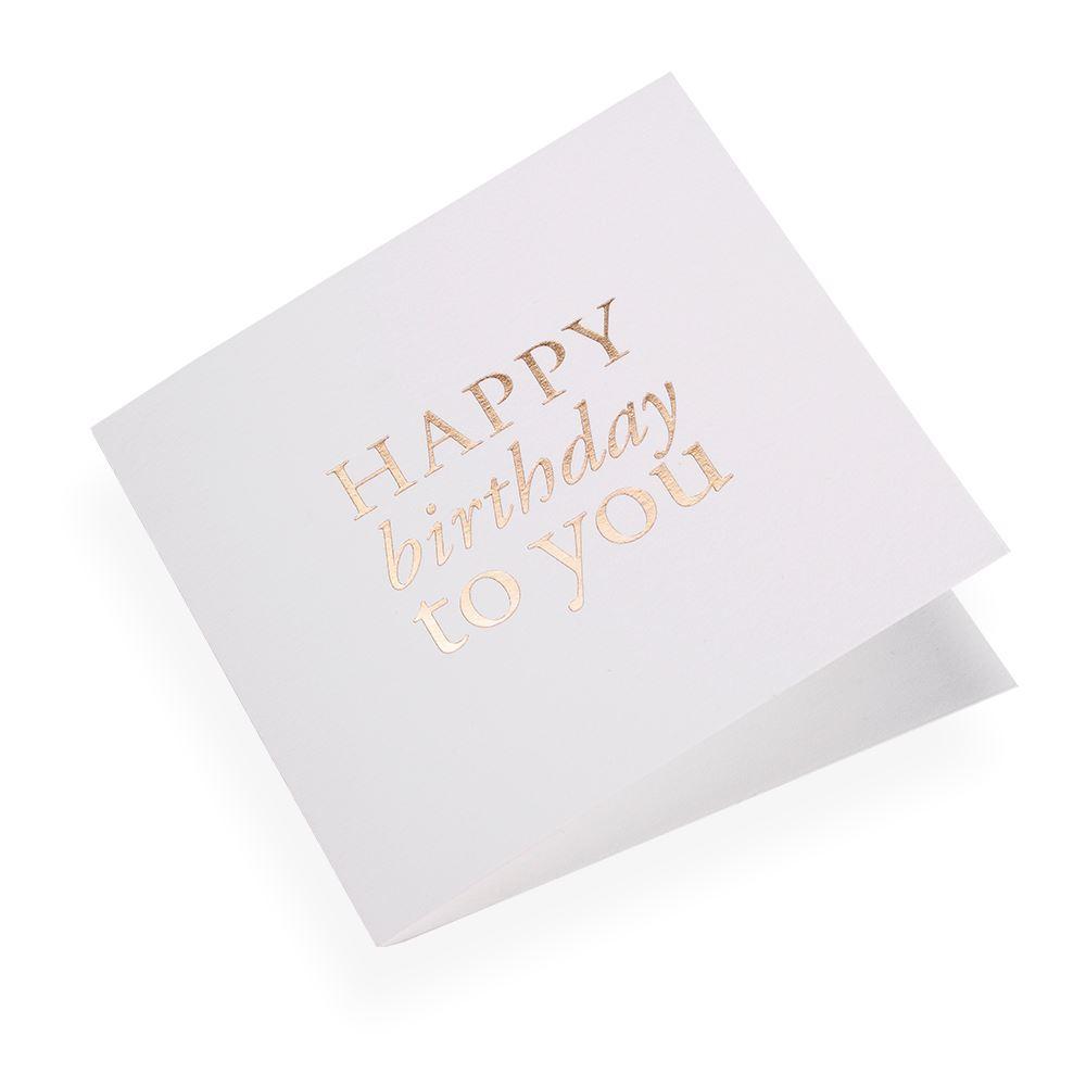 "Carte double, papier coton, ""Happy Birthday"" doré"