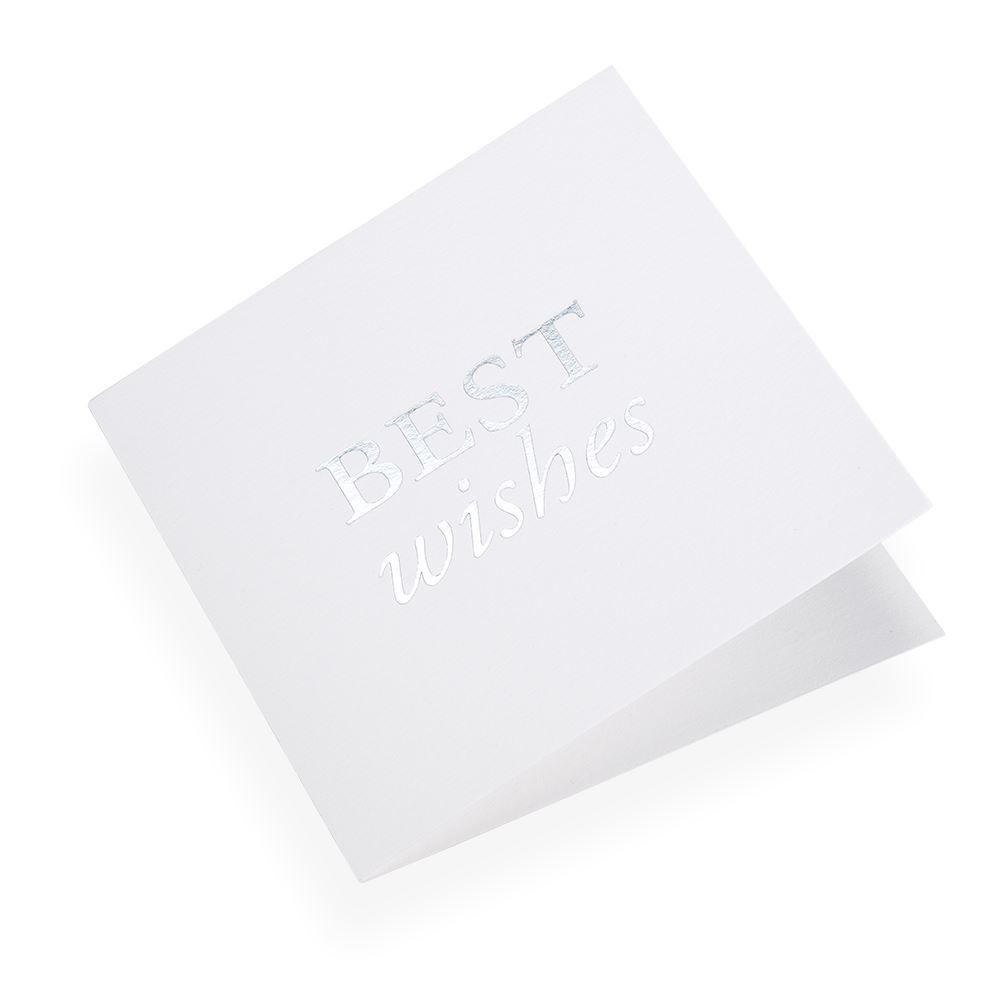"""Carte double, papier coton, """"Best Wishes"""" argenté"""