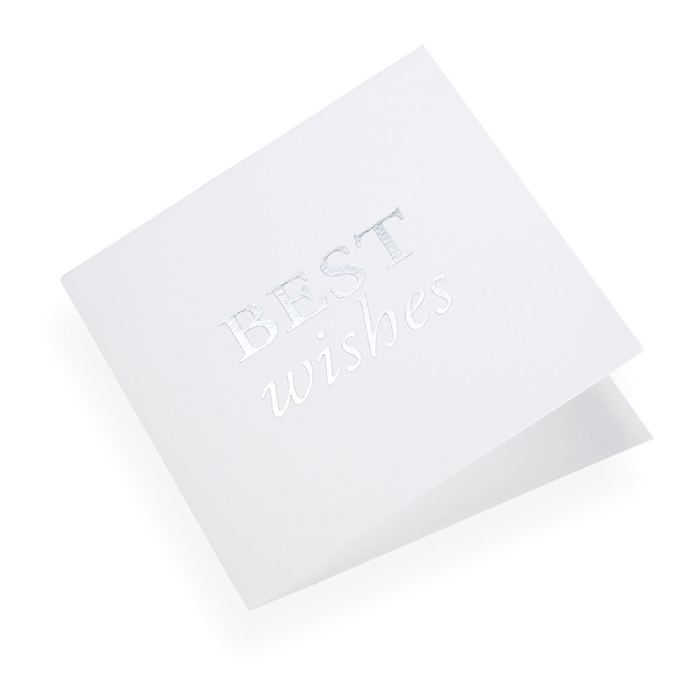 Cotton paper card, Best Wishes in Silver