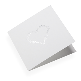 Cotton paper card, Flowerheart in Silver