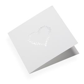 Faltkarte aus Baumwollpapier, Flowerheart in Silver