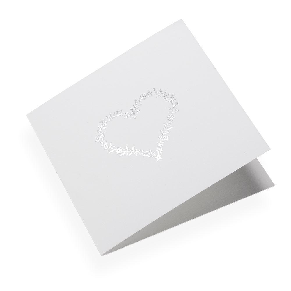 Folded card 145*145 Flowerheart Silver 10 pcs