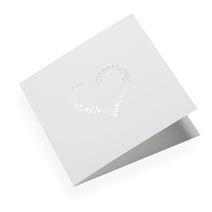 Carte double, papier coton, coeur floral argenté