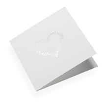 Kort i bomullspapper, Flowerheart i silver