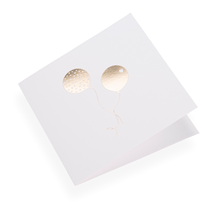 Carte double, papier coton, ballons dorés