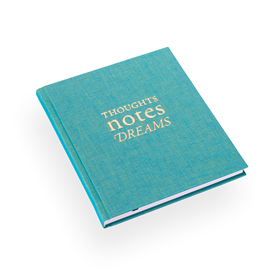 "Skrivbok ""Thoughts notes dreams"" turkos"