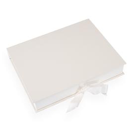 Vävklädd Box med Sidenband, Elfenben Storlek A4