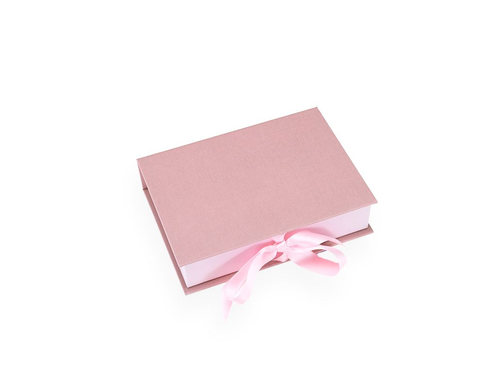 Box with silk ribbons, Dusty Pink