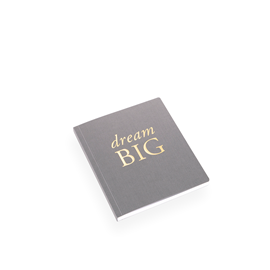 "SKRIVBOK, MÖRKGRÅ, ""Dream Big"""