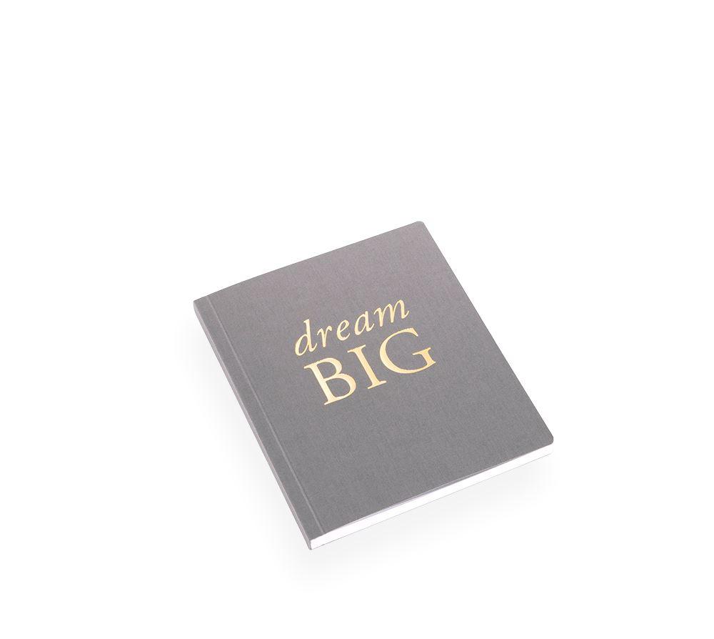 "NOTEBOOK SOFT COVER, DARK GREY, ""Dream Big"""