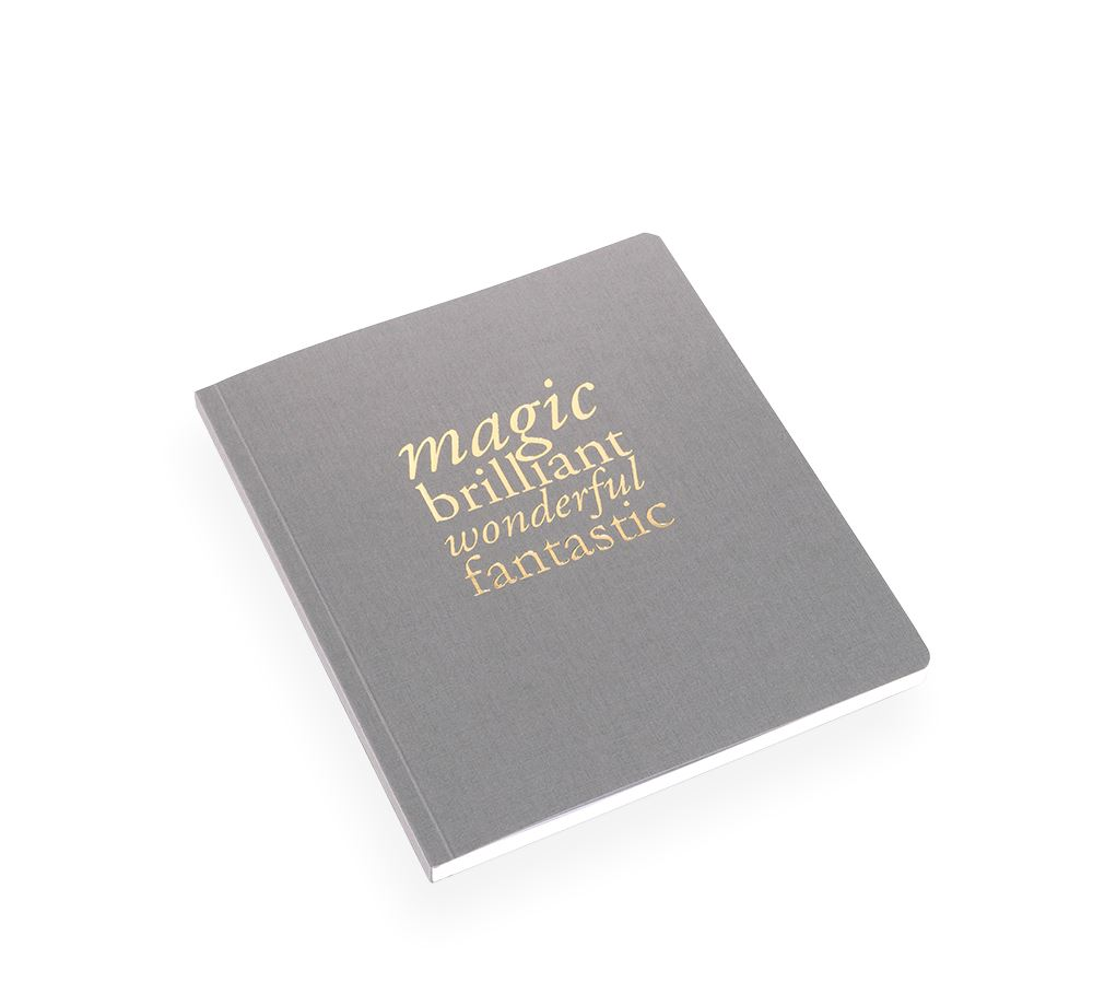 "SKRIVBOK, MÖRKGRÅ, ""Magic…"""