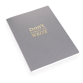"NOTEBOOK SOFT COVER, DARK GREY, ""Don't forget…"""