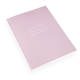 "NOTEBOOK SOFT COVER, PINK, ""Every Journey…"""